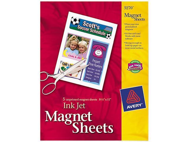Avery 3270 Printable Inkjet Magnet Sheets, 8-1/2 x 11, White, 5/Pack