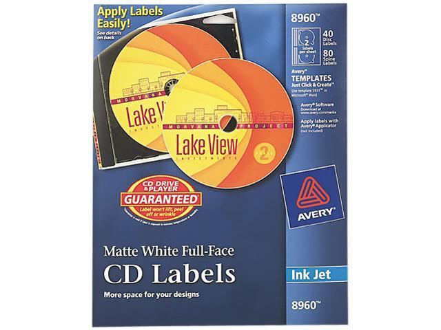 Inkjet Full-Face CD Labels Matte White 40/Pack