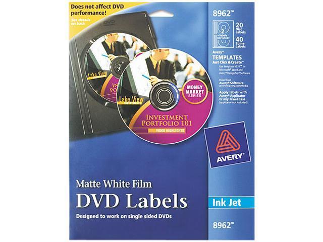 Avery 8962 DVD Label 20 / Pack - Circle - 2/Sheet - Inkjet - White