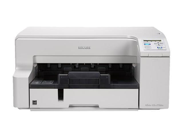 RICOH Aficio GX series e7700N Up to 29 ppm Black Print Speed 3600 x 1200 dpi Color Print Quality On-demand Piezo Inkjet System Workgroup Color Printer
