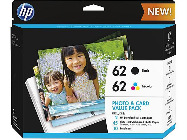 HP 62 Ink Cartridge with Photo Paper - Combo Pack - Black/Cyan/Magenta/Yellow/Card