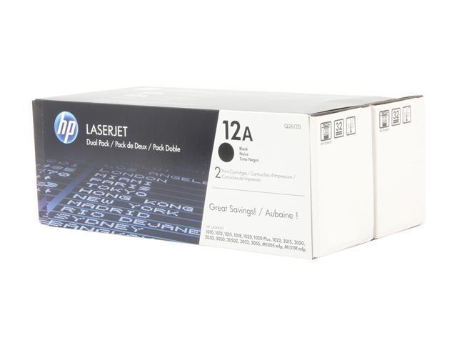 HP Q2612D 12A Black Dual Pack LaserJet Toner Cartridges Black