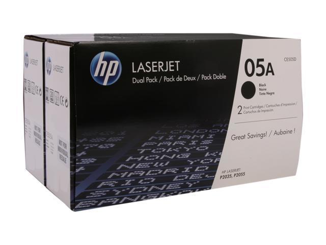 HP 05A (CE505D) Dual Pack 2,300 pages yield LaserJet Toner Cartridges; Black