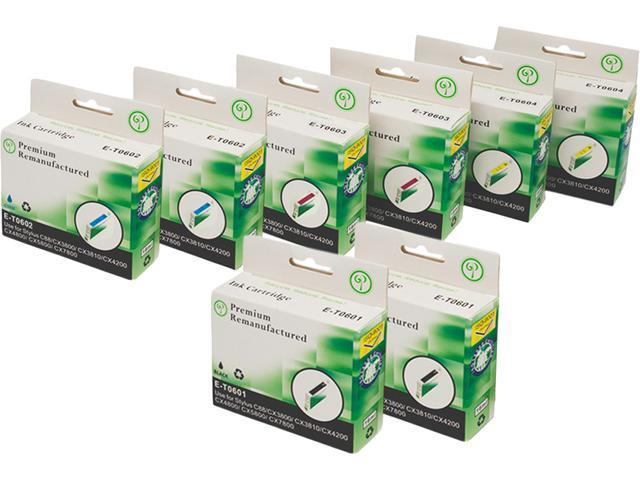 Green Project E-T0601(8)PK Black and Colors Compatible Epson E-T0601 8 Pack