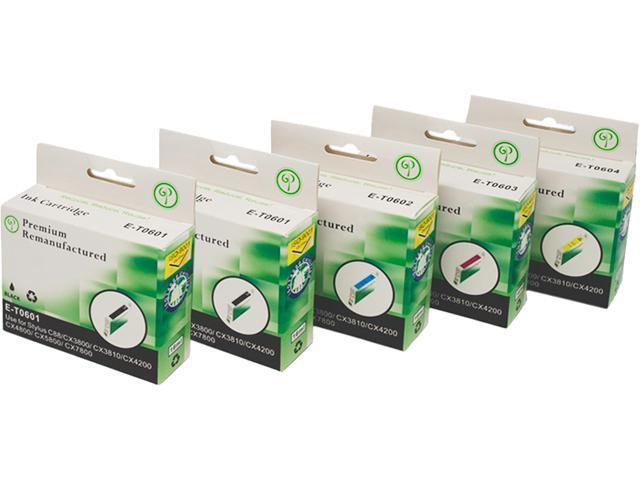 Green Project E-T0601(5)PK Black and Colors Compatible Epson E-T0601 5 Pack