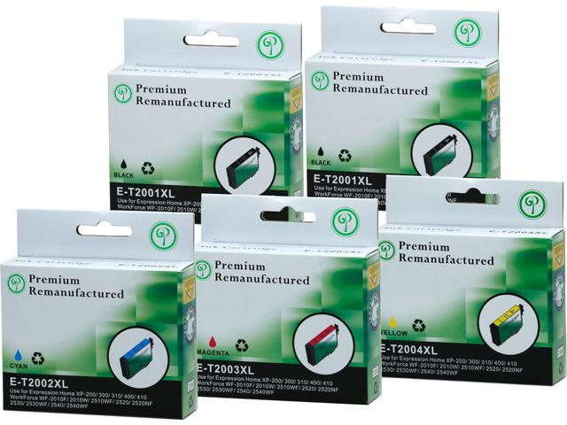 Green Project E-T200XL(5PK) Black and Colors Compatible Epson E-T200XL Ink Cartridge 5 Pack