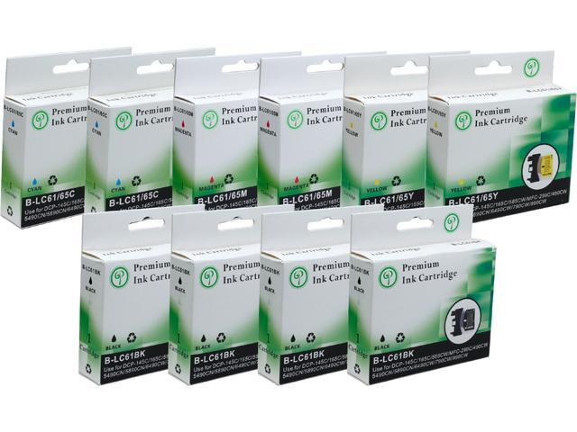Green Project B-LC61(10)PK Black and Colors Compatible Brother LC61 Ink Cartridge 10 Pack