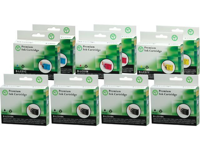Green Project B-LC51(10)PK Black and Colors Compatible Brother LC51 Ink Cartridge 10 Pack