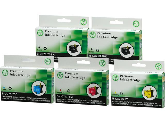 Green Project B-LC75(5PK) Black and Colors Compatible Brother LC75 Ink Cartridge 5 Pack