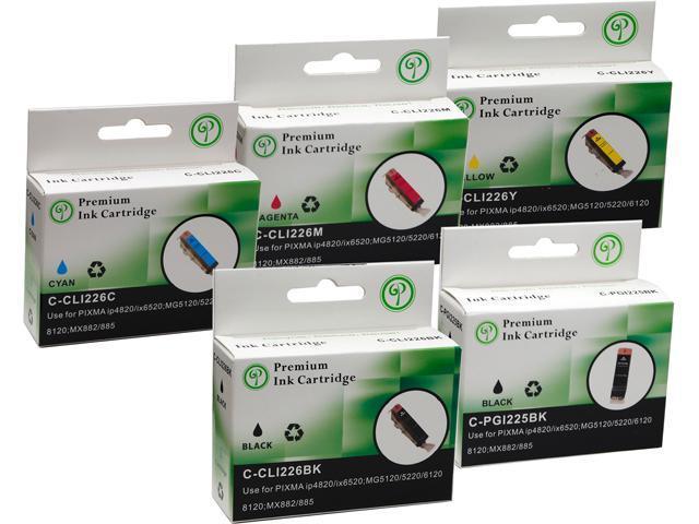 Green Project C-PGI225/CLI226(5PK) Black and Colors Compatible Canon PGI225, CLI226 Ink Cartridge 5 Pack