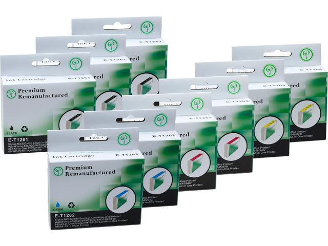 Green Project E-T1261(9)PK Black and Colors Compatible Epson E-T1261 Ink Cartridge 9 Pack