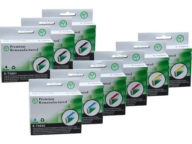 Green Project E-T0691(9)PK Black and Colors Compatible Epson E-T0691 Ink Cartridge 9 Pack