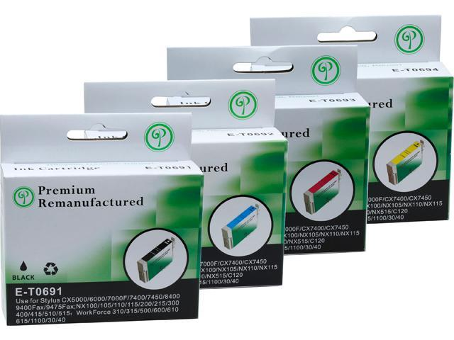 Green Project E-T0691(4)PK Black and Colors Compatible Epson E-T0691 Ink Cartridge 4 Pack