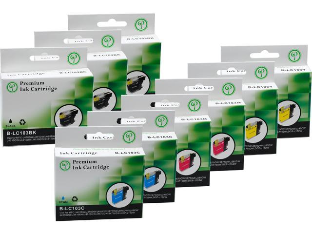 Green Project B-LC103(9)PK Black and Colors Compatible Brother LC103 Ink Cartridge 9 Pack