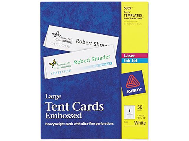 Avery 5309 Tent Cards, White, 3-1/2 x 11, 1 Card/Sheet, 50 Cards/Box