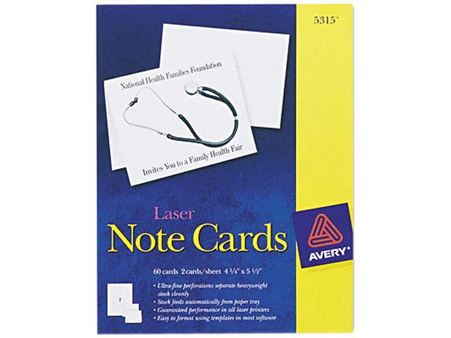 Avery 5315 Printer Compatible Cards, 4-1/4 x 5-1/2, Two per Sheet, 60/Box with Envelopes