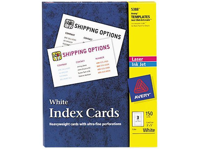 Avery 5388 Laser/Inkjet Unruled Index Cards, 3 x 5, White, 150/Box