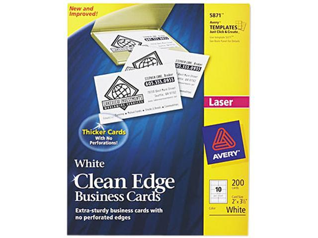Laser Clean Edge Business Cards  White Matte  10/Sheet (20 Sheets/Pkg)