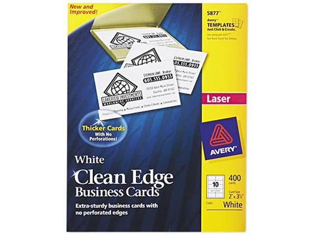 Avery 5877 Clean Edge Laser Business Cards, 2 x 3 1/2, White, 10/Sheet, 400/Box