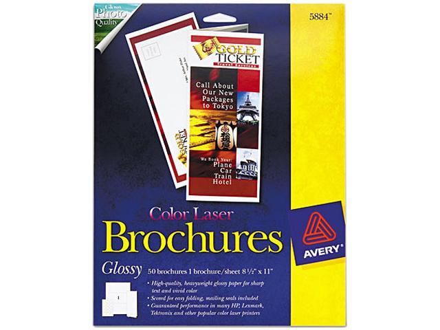 Avery 5884 Brochure Paper, Glossy, 8-1/2 x 11, White, 50 Sheets/Pack