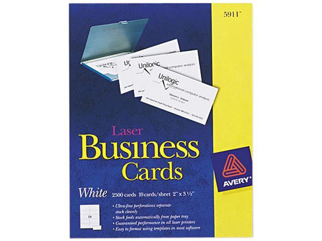 Avery 5911 Laser Business Cards, 2 x 3 1/2, White, 10 Cards/Sheet, 2500/Box
