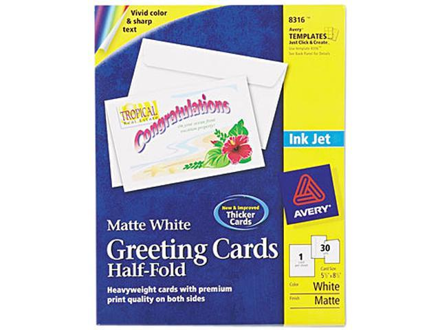 Avery 8316 Inkjet-Compatible Greeting Cards with Envelopes, 5-1/2 x 8-1/2, 30/Box