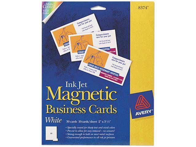 Avery 8374 Inkjet Magnetic Business Cards, 2 x 3 1/2, White, 10/Sheet, 30/Pack