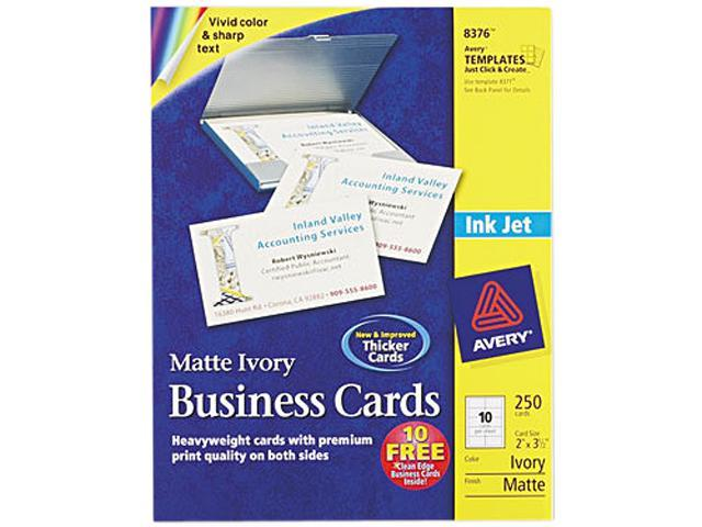 Avery 8376 Inkjet Matte Business Cards, 2 x 3 1/2, Ivory, 10/Sheet, 250/Pack