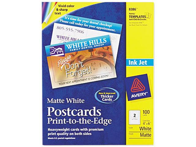 Avery 8386 Inkjet-Compatible Postcards, 4 x 6, Two per Sheet, 100 Cards/Pack