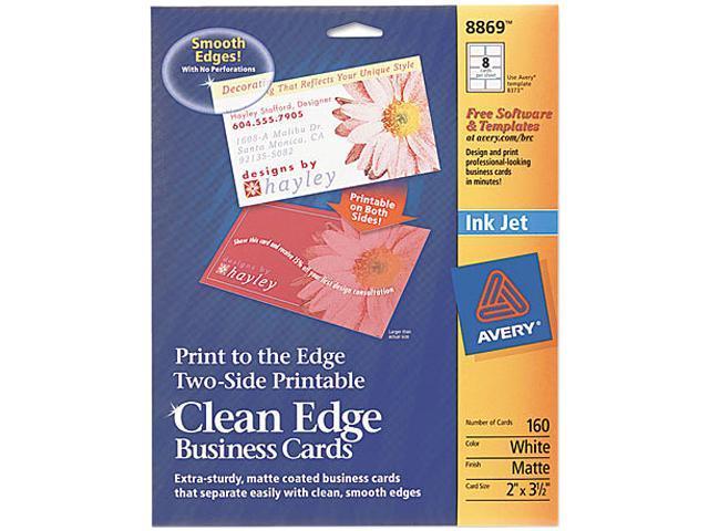 Avery 8869 Inkjet Matte Business Cards, 2 x 3 1/2, White, 8/Sheet, 160/Pack
