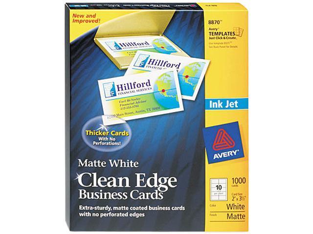 Avery 8870 Inkjet Matte Business Cards, 2 x 3 1/2, White, 10/Sheet, 1000/Box
