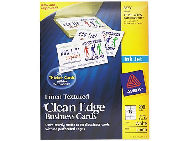 2-Side Printable Clean Edge Business Cards Inkjet 2 x 3 1/2 Linen Wht 200/Pk