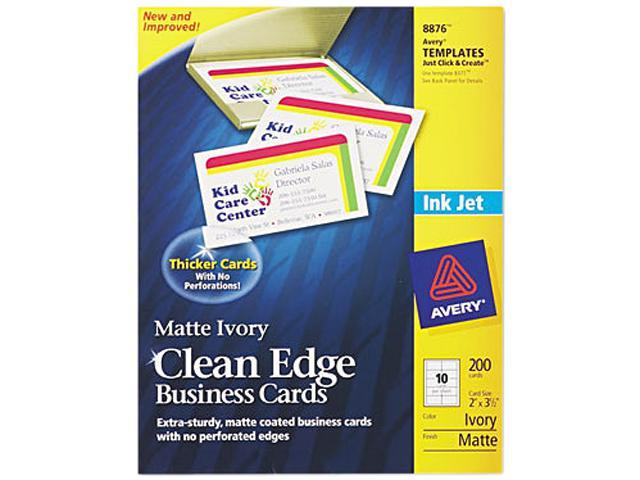 Avery 8876 Inkjet Matte Business Cards, 2 x 3 1/2, Ivory, 10/Sheet, 200/Pack