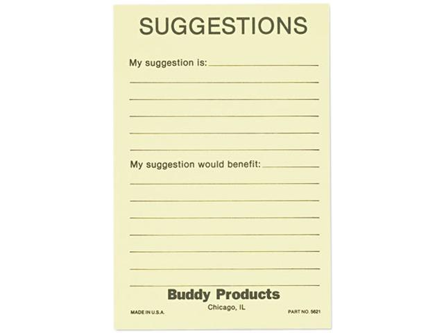 Buddy Products 5621 Suggestion Box Cards, 4 x 6, Yellow, 50 Cards/Pack