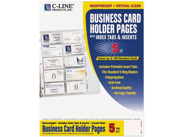 C-Line 61117 Tabbed Business Card Binder Pages, 20 Cards Per Letter Page, Clear, 5 Pages