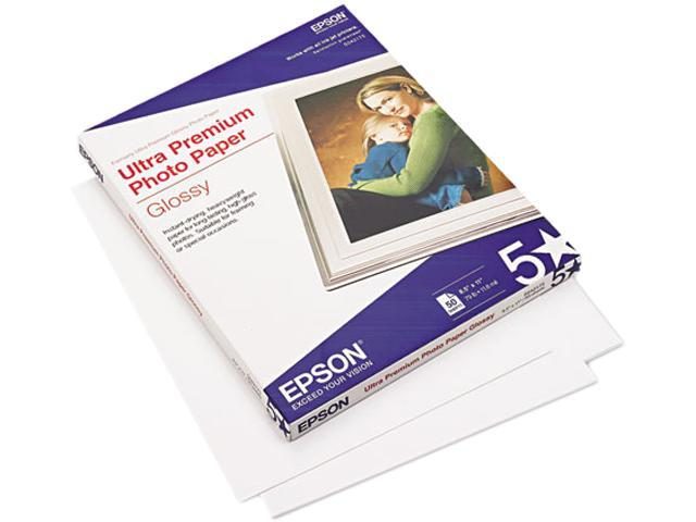 Epson S042175 Ultra-Premium Glossy Photo Paper, 79 lbs., 8-1/2 x 11, 50 Sheets/Pack