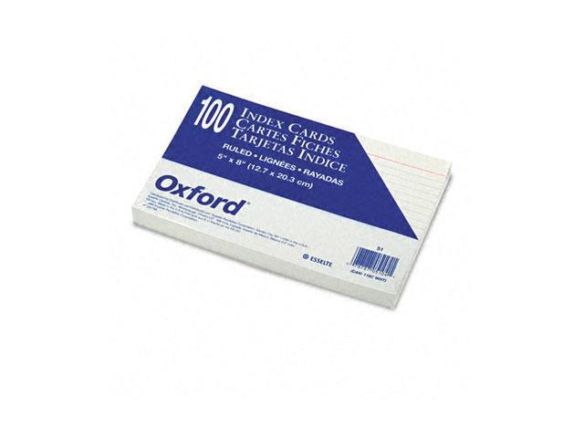 Oxford 51 Ruled Index Cards, 5 x 8, White, 100/Pack