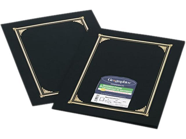 Geographics 45331 Certificate/Document Cover, 12-1/2 x 9-3/4, Black, 6/Pack