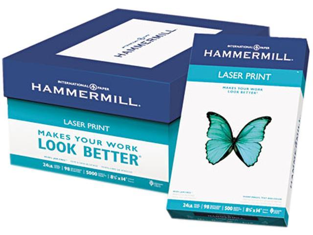 Hammermill 10461-2 Laser Print Office Paper, 98 Brightness, 24lb, 8-1/2 x 14, White, 500 Sheets/RM