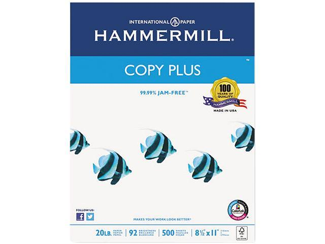 Hammermill 105007 - Copy Plus Copy Paper, 92 Brightness, 20lb, 8-1/2 x 11, White, 5000 Sheets/Carton