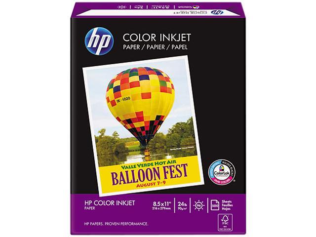 Hewlett-Packard Color Inkjet Paper, 96 Brightness, 24lb, 8-1/2 x 11, White, 500 Sheets/Ream