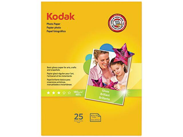 Kodak 1912369 Photo Paper, 44 lbs., Glossy, 8-1/2 x 11, 25 Sheets/Pack