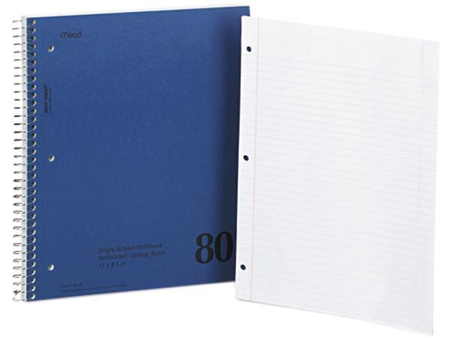 Mead 06548 Mid Tier Single Subject Notebook, College Rule, Ltr, White, 80 Sheets/Pad