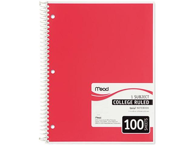 Mead 06622 Spiral Bound Notebook, College Rule, 8-1/2 x 11, White, 100 Sheets/Pad