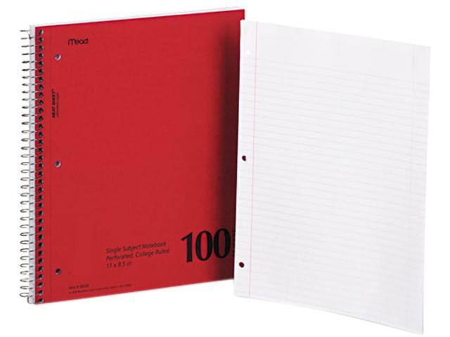 Mead 06546 Spiral Bound 1 Subject Notebook, College Rule, White, 100 Sheets/Pad