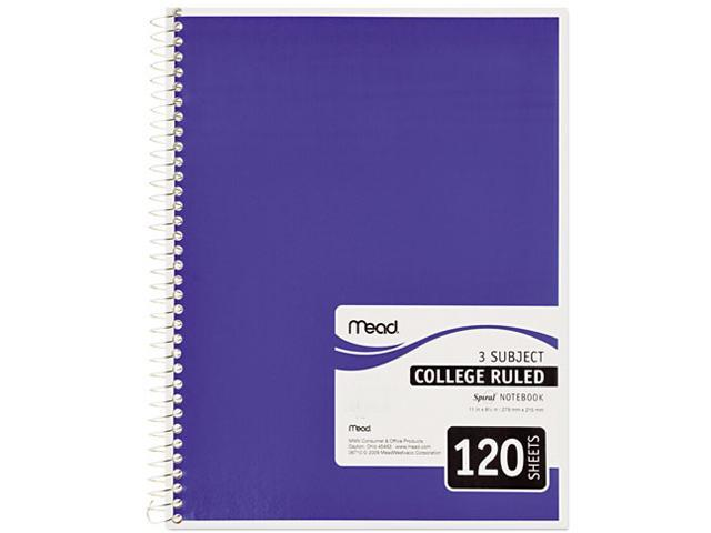 Mead 06710 Spiral Bound Notebook, College Rule, 8-1/2 x 11, White, 120 Sheets/Pad