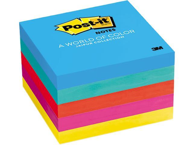 Post-it Notes 6545UC Original Pads in Jaipur Colors, 3 x 3, 100/Pad, 5 Pads/Pack, 1 Pack