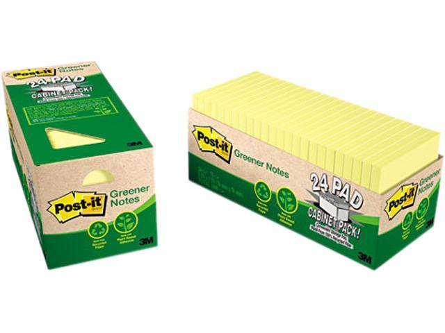 Post-it Greener Notes 654R-24CP-CY Recycled Notes, 3 x 3, Canary Yellow, 24 75-Sheet Pads/Pack
