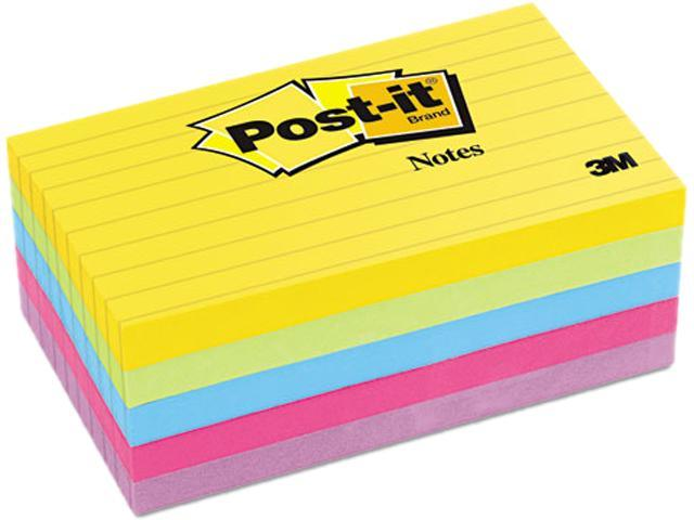 Post-it Notes 635-5AU Ultra Color Notes, 3 x 5, Lined, Five Colors, 5 100-Sheets Pads/Pack