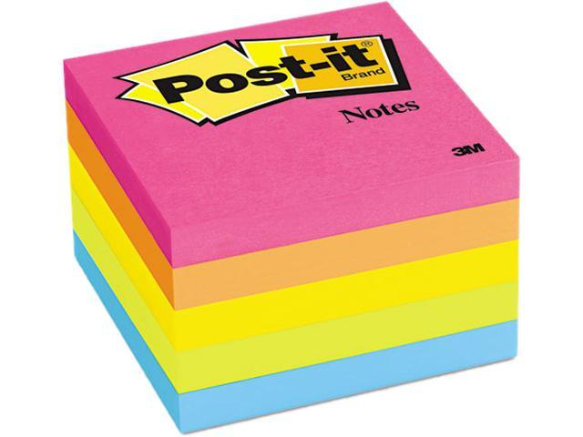Post-it Notes 654-5PK Original Pads in Neon Colors, 3 x 3, Five Neon Colors, 5 100 Sheet Pads/Pack